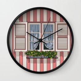 Window - pink Wall Clock