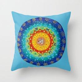 Cosmic Mandala Teal Throw Pillow