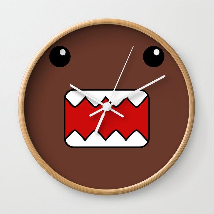 domo kun brown japanese monster wall clock by cutecutecute society6