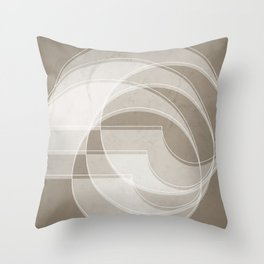 Spacial Orbiting Spiral in Taupe Throw Pillow