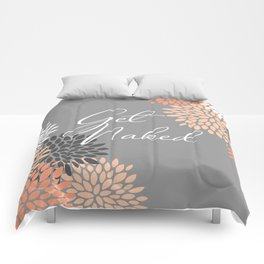 Get Naked Floral Bloom, Coral Gray Comforters