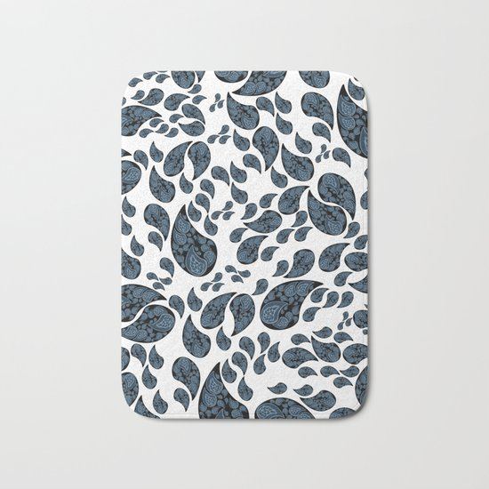 Paisley turquoise, black and white. Bath Mat