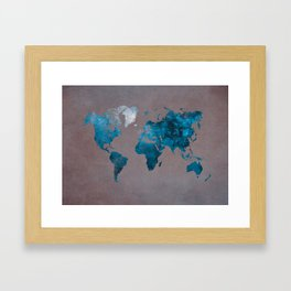 world map 104 blue #worldmap #map Framed Art Print