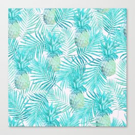 Turquoise Palm Leaves and Pineapples on Pink Canvas Print