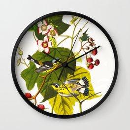 Black and Yellow Warbler Bird Wall Clock