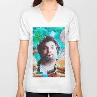 jessica lange V-neck T-shirts featuring Artie Lange by John Turck