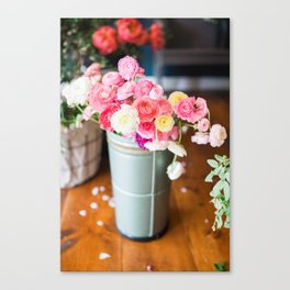 Pail of Flowers Canvas Print