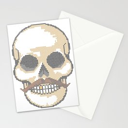 Handlebar Mustache Biker Skull - Cross Stitch Color Coded Chart Stationery Cards
