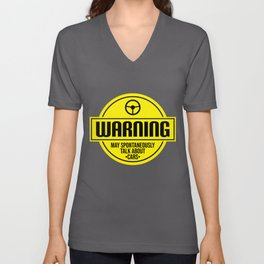 Mens Warning May Spontaneously Talk About Cars print | Auto Tee Unisex V-Neck