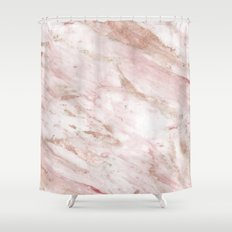 Pink marble - rose gold accents Shower Curtain