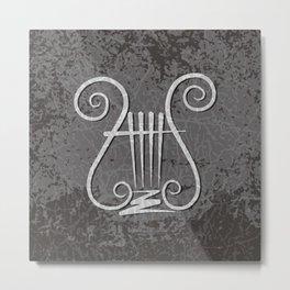 Black Lyre Metal Print