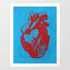 Binary heart Art Print