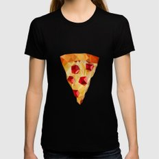 Pizza SMALL Womens Fitted Tee Black