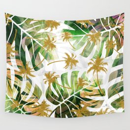 Monstera and golden tropical palms Wall Tapestry