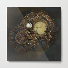 Steampunk Clocks Metal Print