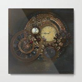 Steampunk Clocks Metal Print