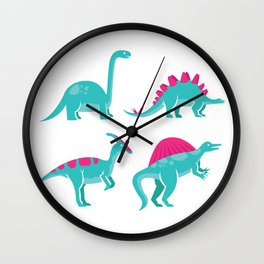 Dinosaur Species Vector Wall Clock