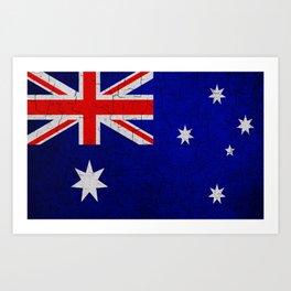 Cracked Australia flag Art Print