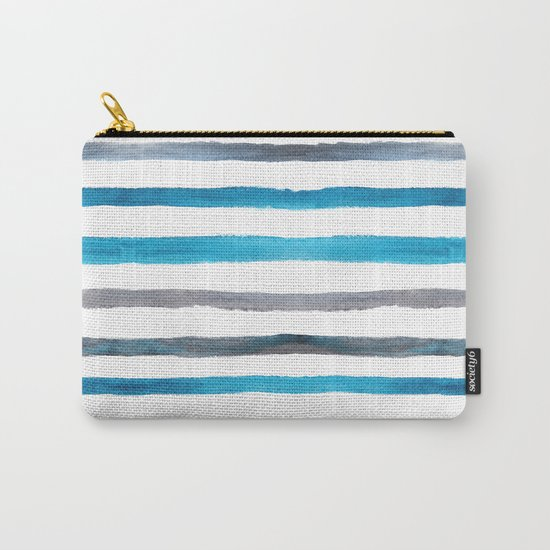 Azure blue and grey watercolor stripes Carry-All Pouch
