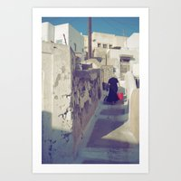 Streets of Santorini IV Art Print