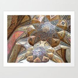 Decorative Persian Ornamental Tile Mosaic Ceiling, Persia, Iran Art Print