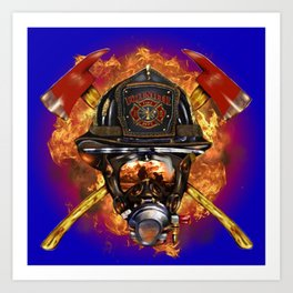 Firefighter rescue volunteer Art Print