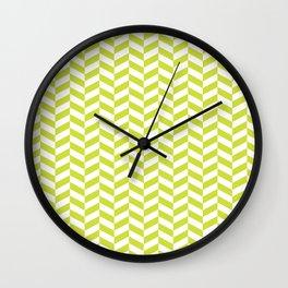 Pear Green Herringbone Pattern Wall Clock