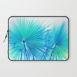 Solar Summer Fan Palms - Blue and Aqua Laptop Sleeve