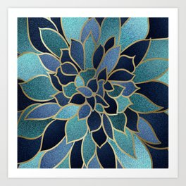 Art Designs, Floral Prints, Navy Blue, Teal and Gold Art Print