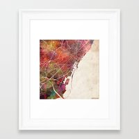 barcelona Framed Art Prints featuring Barcelona by MapMapMaps.Watercolors