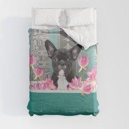 Turquoise Bathtub - French Bulldog Lotus Flower Comforters