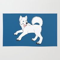 husky Area & Throw Rugs featuring Husky (White) by Leslie Pierrot
