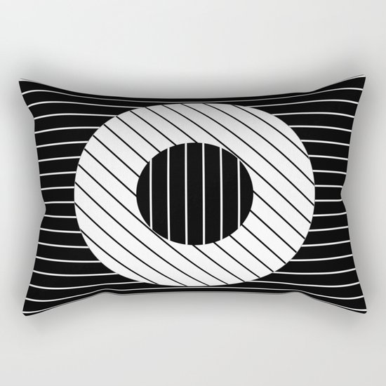 Turn (Minimalistic, black and white, geometric design) Rectangular Pillow