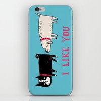 white iPhone & iPod Skins featuring I Like You. by gemma correll