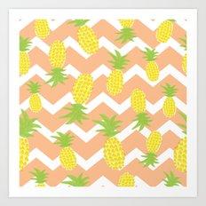 Orange Pinapple Pattern Art Print