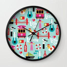 Lisbon - Lisboa Portugal travel icons souvenir illustration print Wall Clock