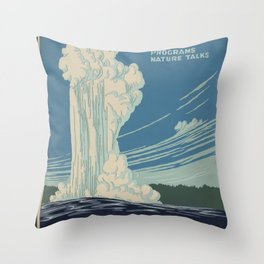 Vintage American WPA Poster - Yellowstone National Park (1938) Throw Pillow