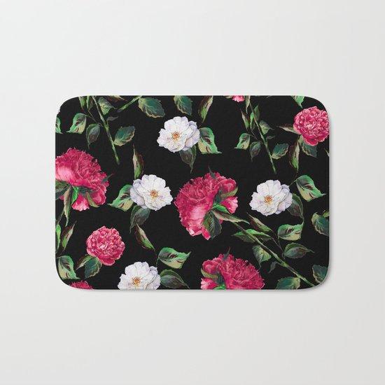 Dark Floral Pattern Bath Mat