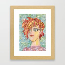 Abstract doodle portrait of young girl Framed Art Print