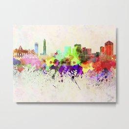 Genoa skyline in watercolor background Metal Print