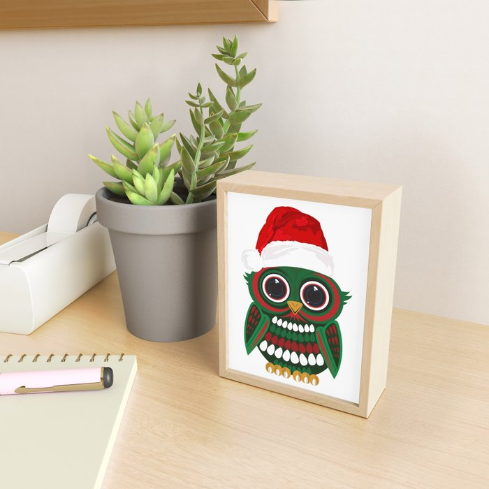 Christmas Owl Framed Mini Art Print