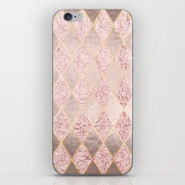 Blush Rose Gold Glitter Argyle iPhone Skin