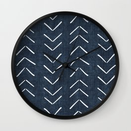 Mud Cloth Big Arrows in Navy Wall Clock
