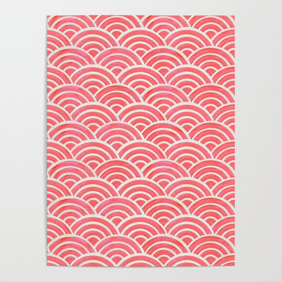 Japanese Seigaiha Wave Pattern – Coral by catcoq