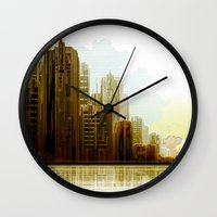 cityscape Wall Clocks featuring Cityscape by Tami Cudahy