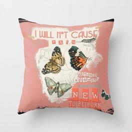 ISAIAH 66:9  Abstract Scripture Collage Art Butterflies Bible Verse Throw Pillow