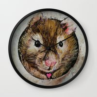 hamster Wall Clocks featuring Hamster Love by Michael Creese