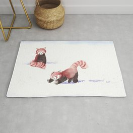 Red Pandas in the Snow Rug