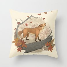 Fox and rabbit Throw Pillow