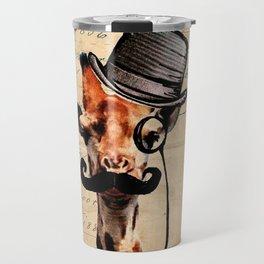 Giraffe Mustache Monocle Tophat Dandy Travel Mug